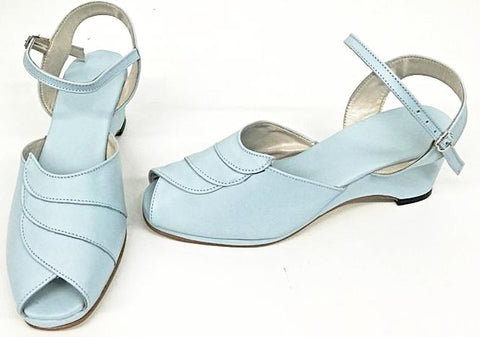 Lauren Wedge Sandals Baby Blue - IN STOCK NOW