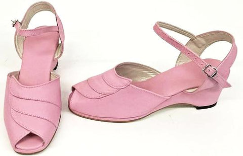 Lauren Wedge Sandals Baby Pink - IN STOCK NOW