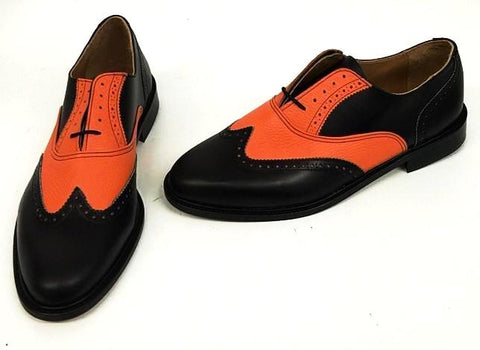 A Brogue - Black/Orange Leather sole. - IN STOCK NOW size 10