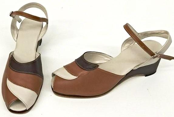 Lauren Wedge Sandals Three Tone Brown - IN STOCK NOW