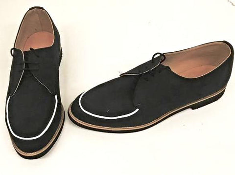 B Gibson Black Suede/White Piping Black EVA sole