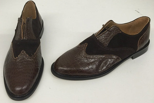 G Brown Croc/Suede IN STOCK NOW - size 12½