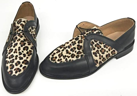 Swingkings Black Leather/Faux Cheetah IN STOCK NOW size 9½