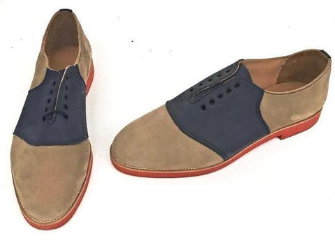 Saddle Beige Nubuck/Navy Nubuck Red EVA sole-  size 11 END OF LINE SALE