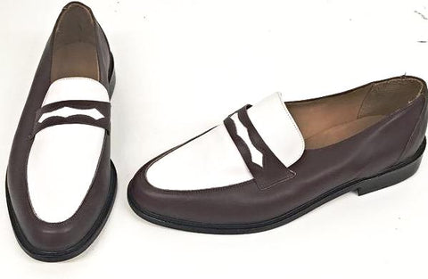Penny Loafer Brown/White Leather  IN STOCK NOW