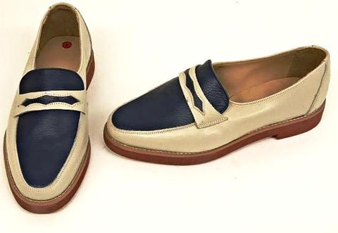 Penny Loafer Beige/Blue IN STOCK NOW