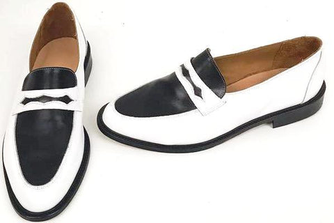 Penny Loafer White/Black  - IN STOCK NOW size 10