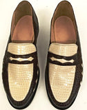 Penny Loafer Brown Croc/Cream Croc with Diamonds  IN STOCK NOW