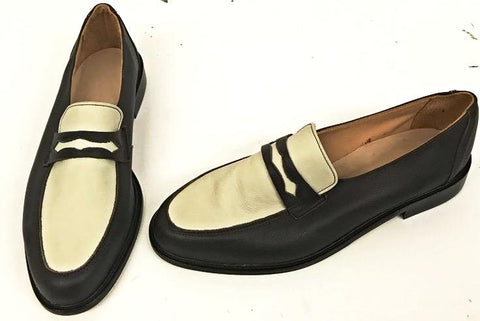 Penny Loafer Dark Brown/Cream Leather IN STOCK NOW