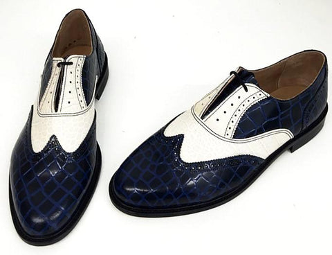 A Brogue - Blue-Black Croc/White Croc. Leather sole. - IN STOCK NOW size 11