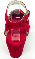 Gina Wedge Sandals Red Suede - IN STOCK NOW