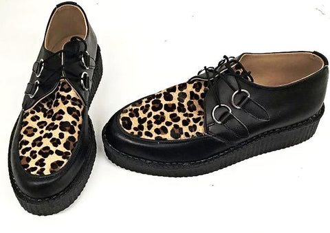Creeper Black Leather/ Cheetah D-Ring IN STOCK NOW size 8
