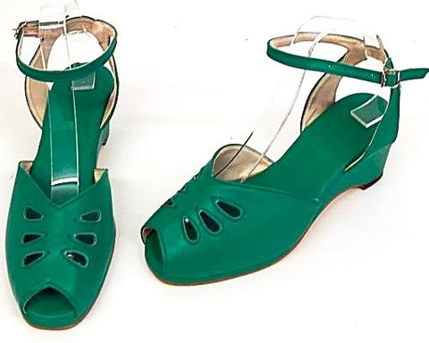 Rita Wedge Sandals with a H-Back Emerald Green - IN STOCK NOW