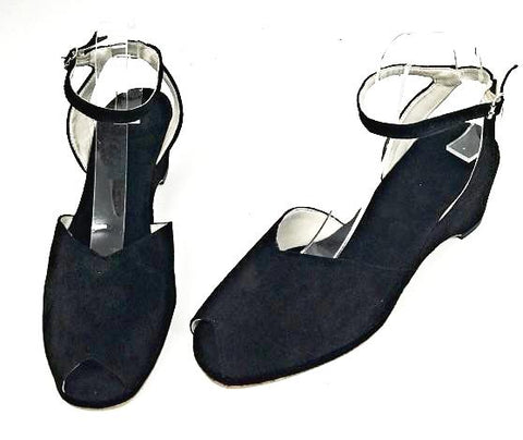 Gina Wedge Sandals Black Suede - IN STOCK NOW