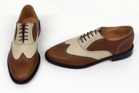 A Brogue Brown/Cream Leather sole. - IN STOCK NOW
