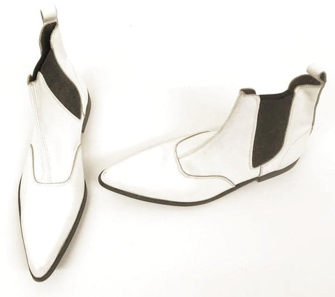 Winkle Boots White Leather Low Heel with Gusset  IN STOCK NOW size 8 END OF LINE