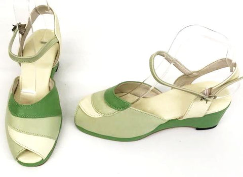 Lauren Wedge Sandals Three Tone Green - IN STOCK NOW