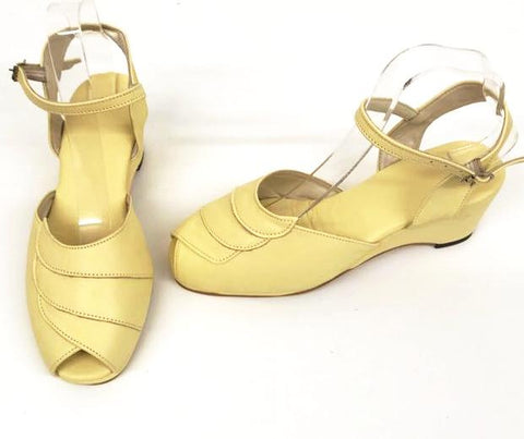 Lauren Wedge Sandals Pale Yellow - IN STOCK NOW