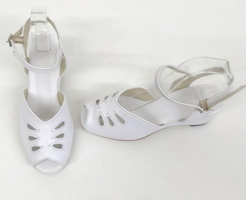 Rita Wedge Sandals with a H-back White - IN STOCK NOW