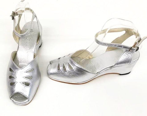 Rita Wedge Sandals H-Back Silver  IN STOCK NOW