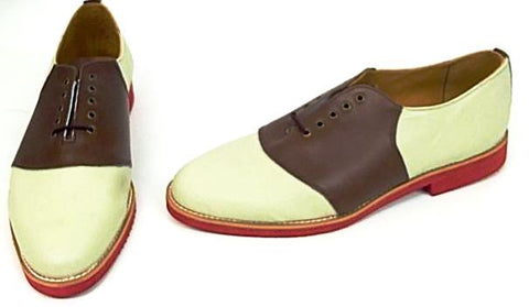 Saddle Cream/Brown Red EVA sole Red EVA Sole - size 10½ END OF LINE SALE