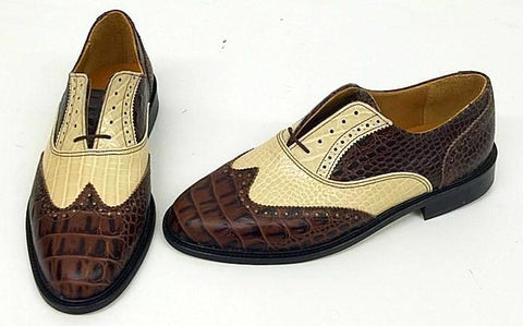 A Brogue Brown Croc/Cream croc/snake - IN STOCK NOW