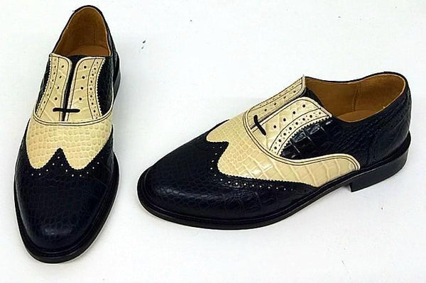 A Brogue Black Croc/Cream Croc Leather sole - IN STOCK NOW