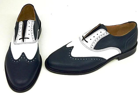 A Brogue Navy/White. Leather sole. - IN STOCK NOW