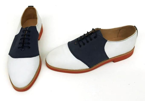 Saddle White Nubuck/Navy Nubuck Red EVA Sole  size 8½  END OF LINE SALE