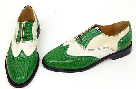 G Brogue with Facing Green Croc/Cream Croc - IN STOCK NOW