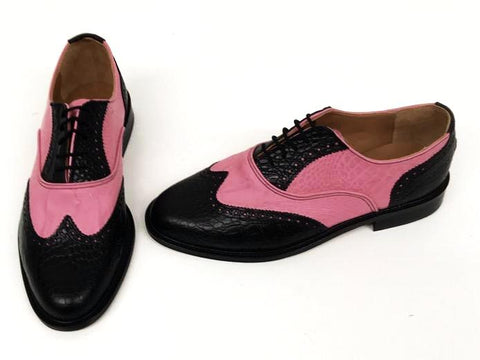 G Brogue  Black Croc/Pink Croc with Black Facing Leather sole - IN STOCK NOW