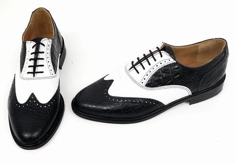 A Brogue - Black/White (off white) Croc Leather sole - IN STOCK NOW