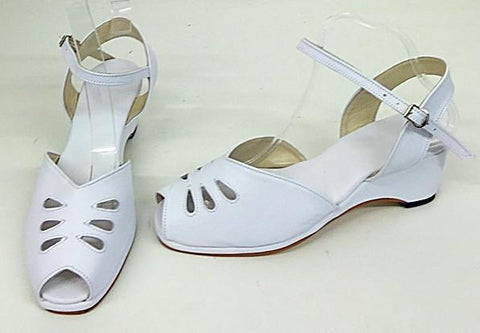 Rita Wedge Sandals White - IN STOCK NOW