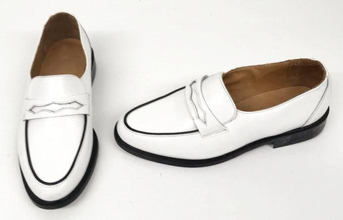 Penny Loafer White Black Piping - IN STOCK NOW size 7 ½