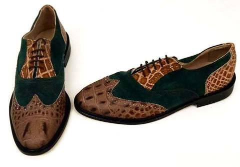 G Brogue with Facing  Brown  Croc/Green Suede  - IN STOCK NOW  ONE OFF PAIR