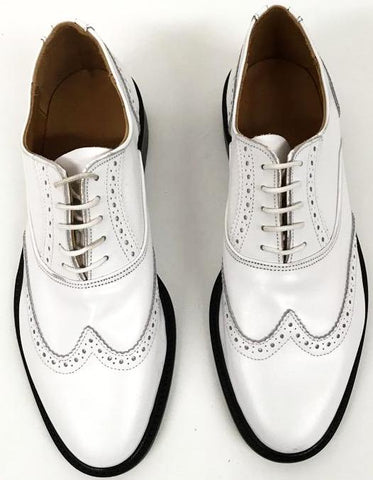 A Brogue - White. Leather sole - IN STOCK NOW size 6½