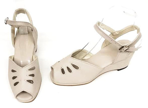 Rita Nude Wedge Sandals  - IN STOCK NOW