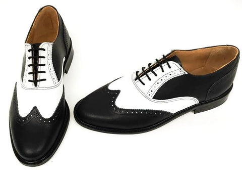 A Brogue - Black/ White. Leather sole. - IN STOCK NOW
