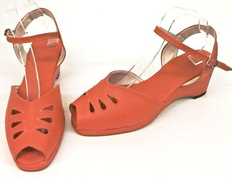 Rita Wedge Sandals Orange - IN STOCK NOW