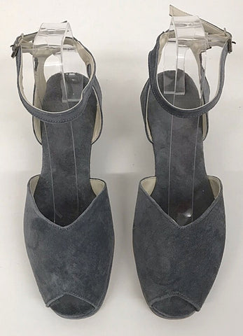 Gina Wedge Sandals Grey  Suede - IN STOCK NOW