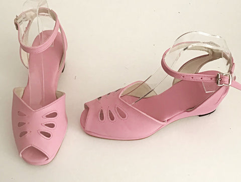 Rita Baby Pink H-Back Wedge Sandals  - IN STOCK NOW