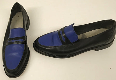 Penny Loafer Black/Royal Blue IN STOCK ONLY size 9