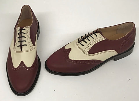 A Brogue  Burgundy/Cream. Leather sole - IN STOCK NOW