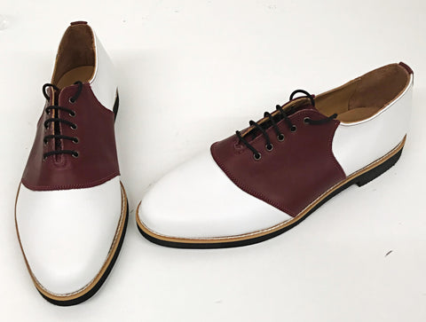 Saddle Burgundy/White Red EVA sole IN STOCK ONLY