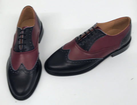A Brogue - Black/Burgundy Leather sole  - IN STOCK NOW size 6½