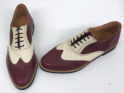 A Brogue - Burgundy/Cream Black EVA sole - IN STOCK NOW size 7½