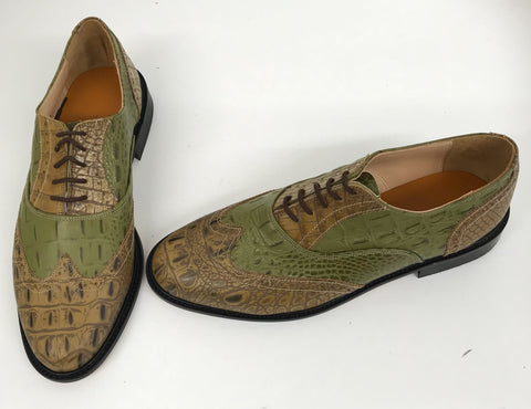 G Brogue with Facing Pecan Croc/Green Croc Leather sole - IN STOCK NOW size 9