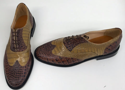 G Brogue with Facing Mid Brown Croc/Pecan Croc Leather sole - IN STOCK NOW size 9
