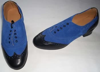 Ladies Brogue Black/Blue Suede  IN STOCK NOW END OF LINE