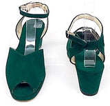 Gina Wedge Sandals Bottle Green Suede - IN STOCK NOW